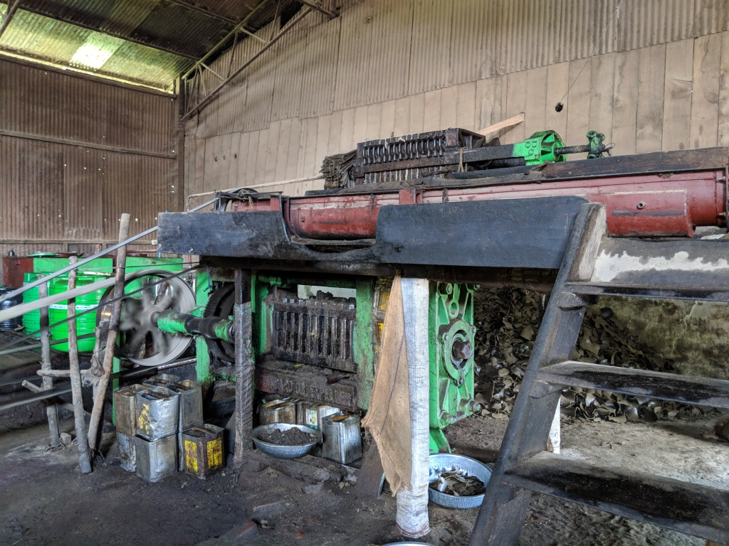 The Mustard is poured in from the top and the extracted oil filters down while the cake is thrown out. The residue is added back in to the machine to ensure that the oil is fully extracted before being discarded as fodder.