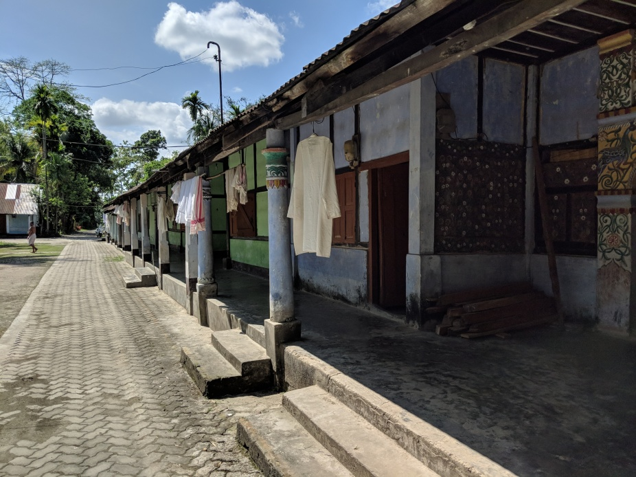 The residential quarters of the Uttar Kamalabari Satra. In this Satra both the Satradhikar and the Bhakats (disciples) spend their life in celibacy. The Bhagavad Gita is the central deity to whom prayers are held everyday.