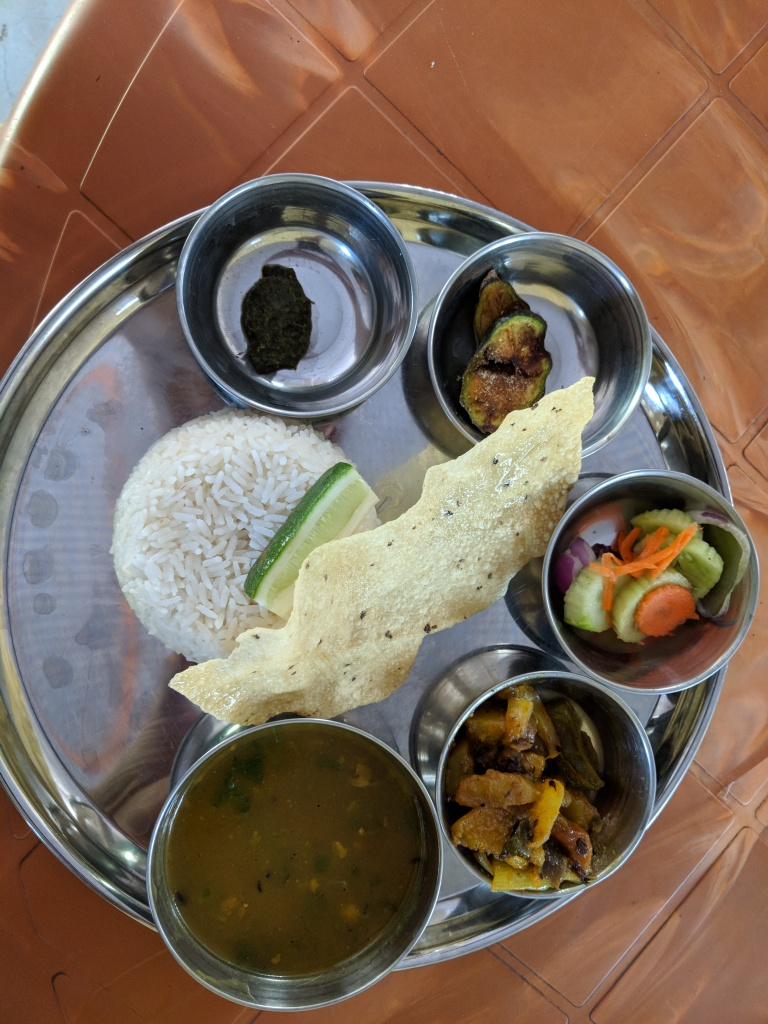 Great Seven a simple Non-Descript place served us a delicious Thali. Rice, Dhal, A Vegetable and two stand out items - A Brinjal slice that was pan fried and a Chutney supposedly made with Assam's hottest chilli - The Bhut Jholokia. All of Rs 70/-