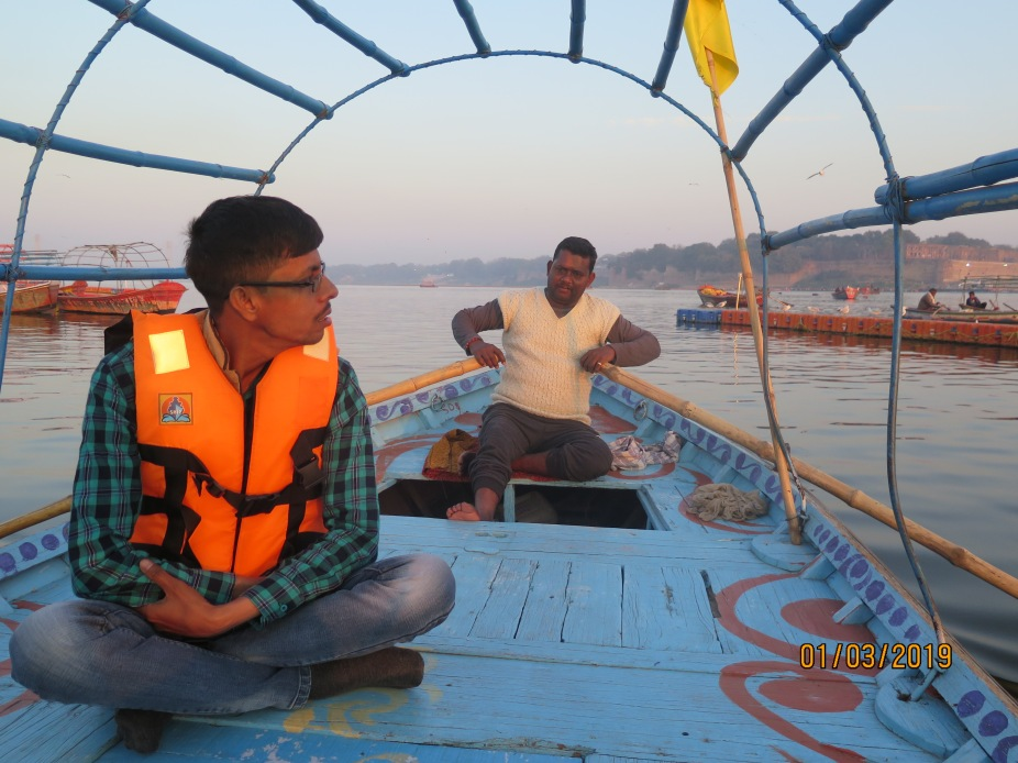 A simple Boat ride for Rs 1500 for an hour and half to travel to the Sangam (confluence) and return after bathing. Absolutely warm boatmen with proper safety equipment