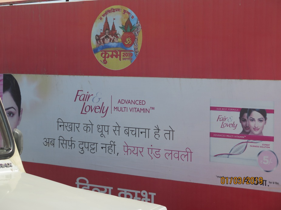 Banner with Kumbh logo and Fair and Lovely message