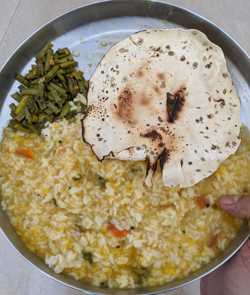 Rice with Tomato rasam, Kothavarangai / cluster beans curry and roasted papad