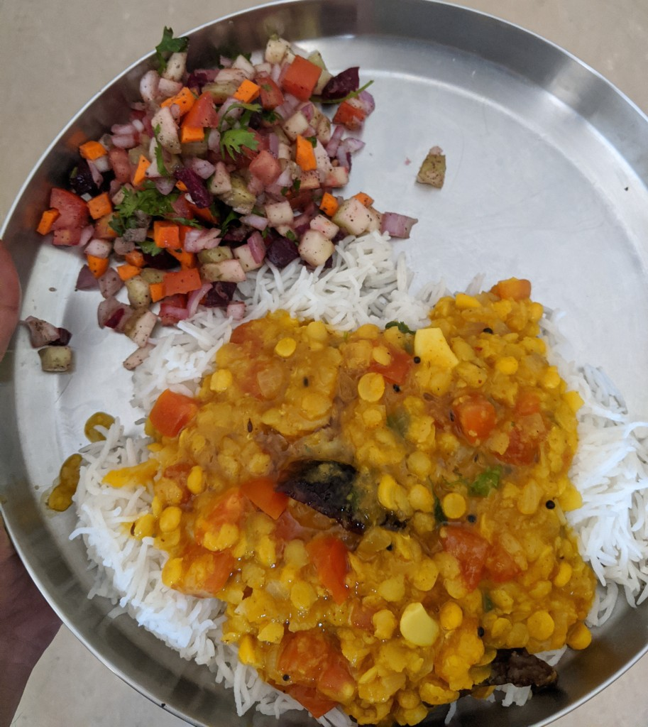 Dal fry, Basmati rice and a lot of Salad