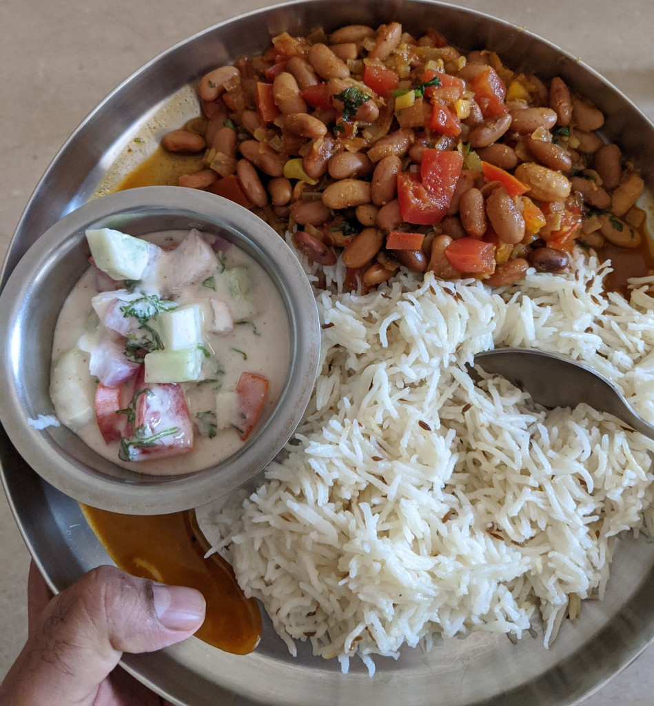 Rajma chawal and raita
