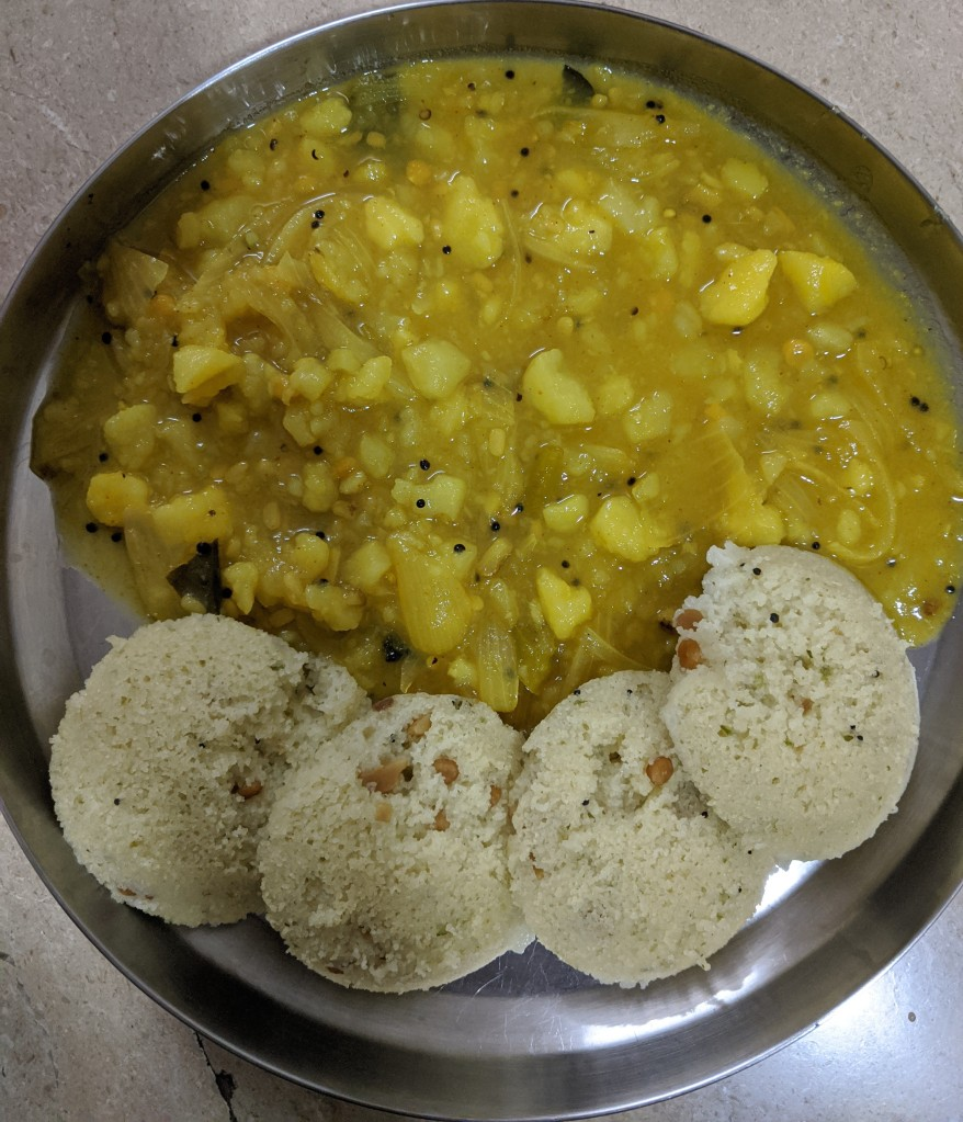 Rava Idly with Potato masala or potato gravy made in a south indian style
