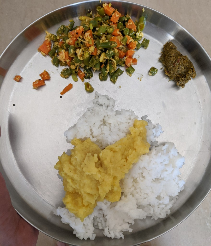 Paruppu sadam with ghee, carrot and beans curry along with kothamalli / coriander thogayal