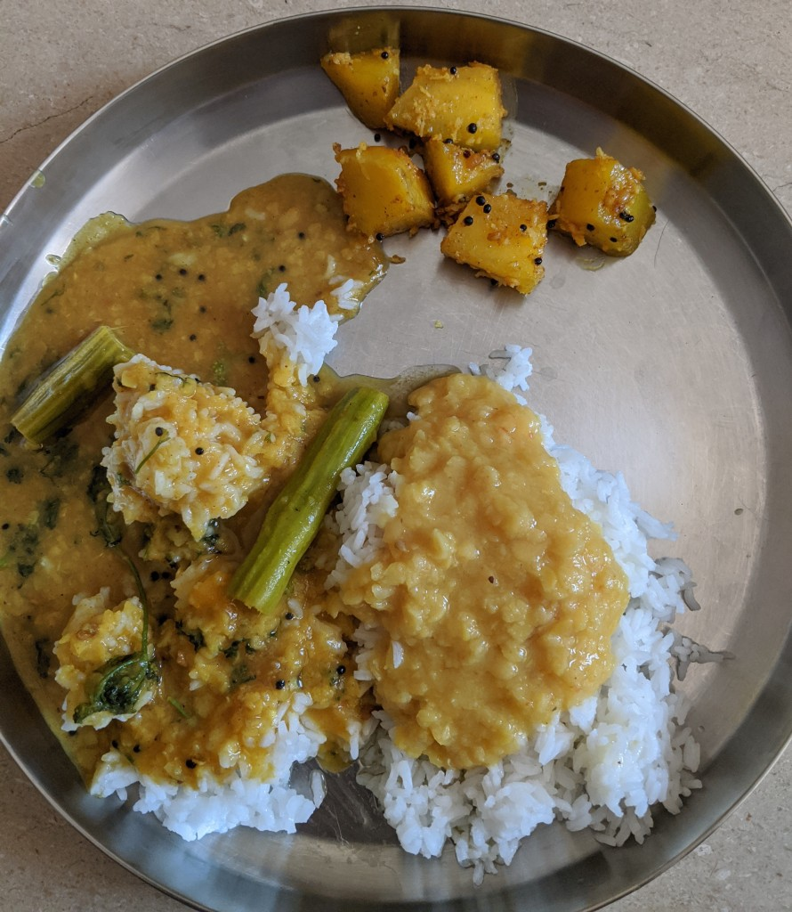 Rice and drumstick sambhar with a sweet pumpkin curry