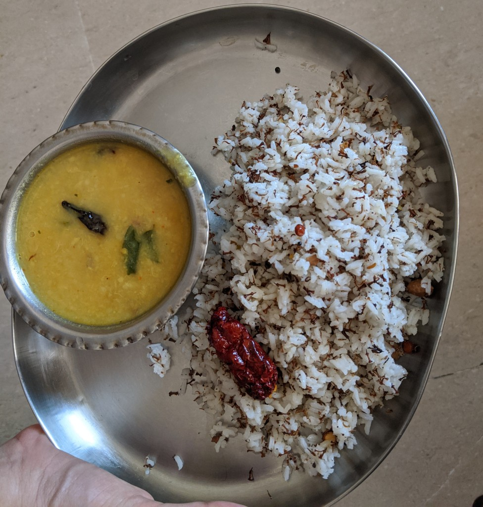 Veppamboo (neem flower) rice along with a senaikizhangu (yam) lemon based masiyal