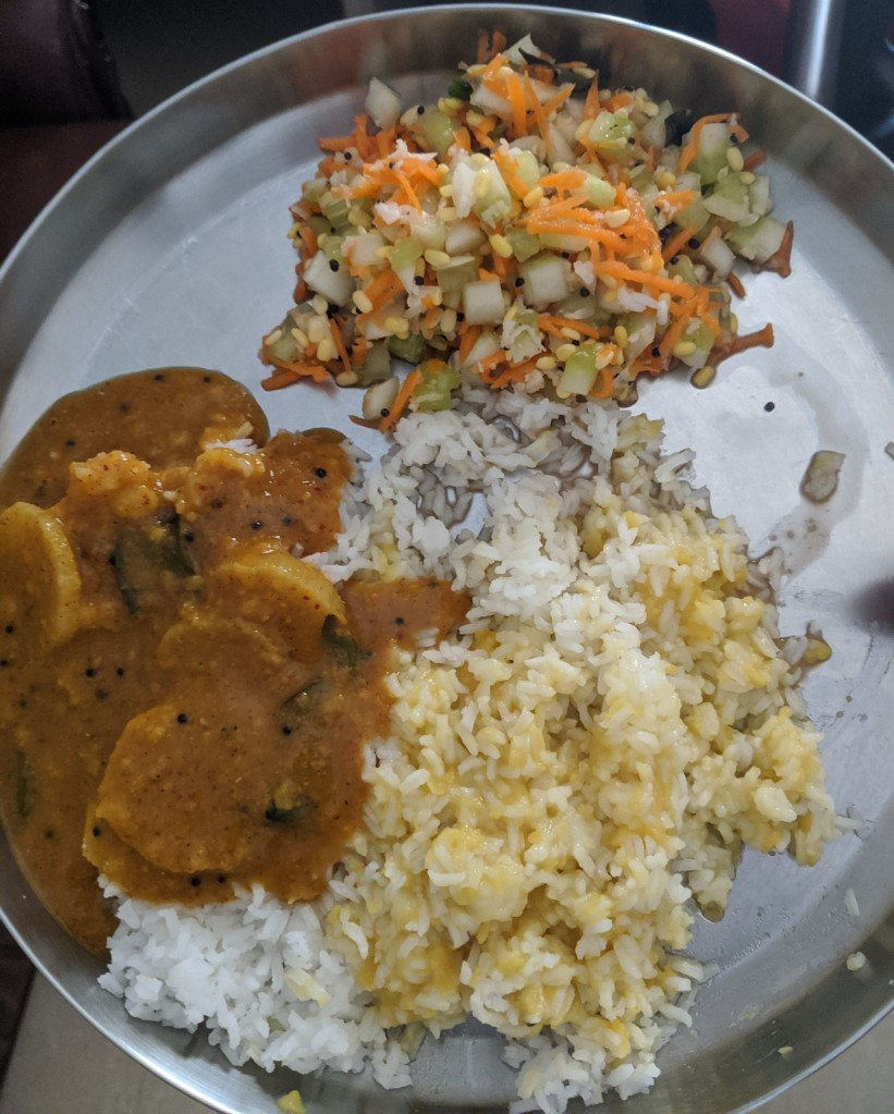 Paruppu and mullangi sambhar rice along with carrot cucumber kosumalli