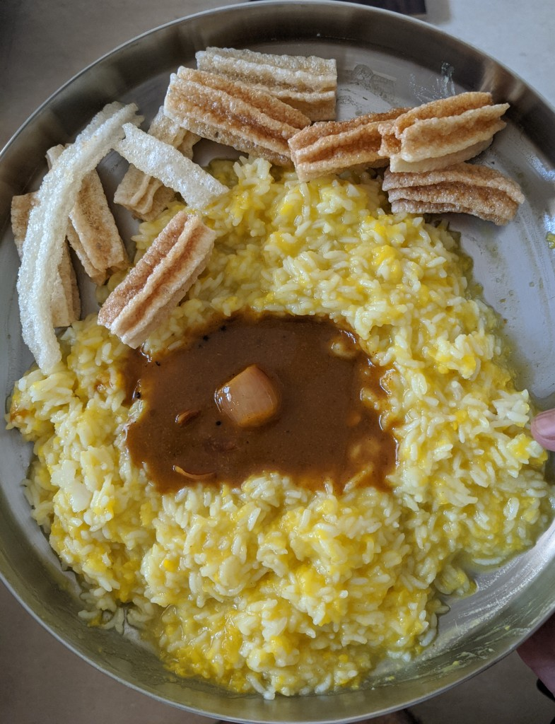 Paruppu sadam with vathakuzhambhu and vadam