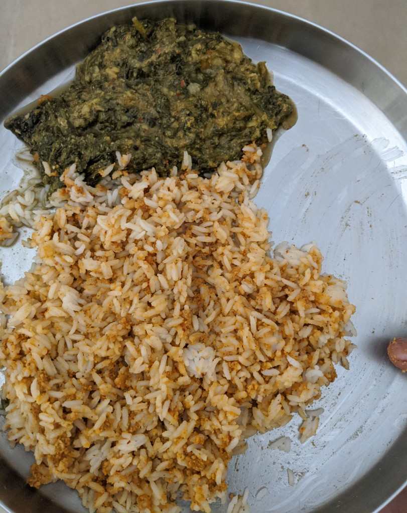 Paruppu (pulses) thogayal rice with keerai (spinach) masiyal